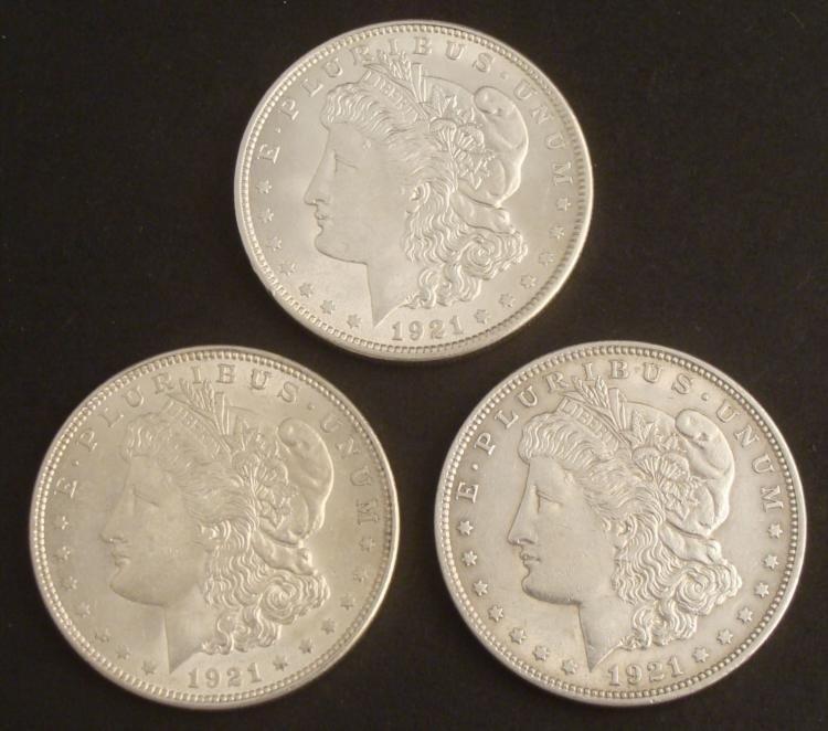 3 Hi-Grade Morgan Silver Dollars 1921