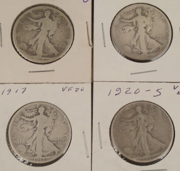 4 Early Diff Date Silver Walking Liberty Halves