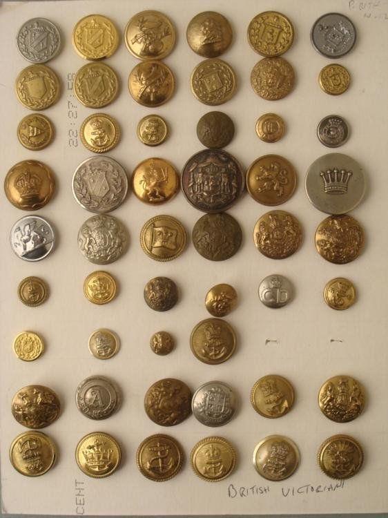 52 British Victorian Military Buttons Big Collection