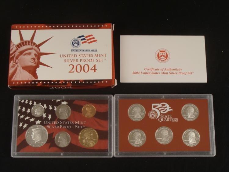 2004 US Mint Silver Proof Set & State Quarters w/ COA
