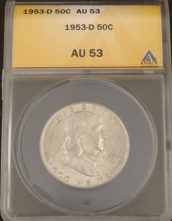 1953-D Franklin Silver Half Dollar Graded AU 53