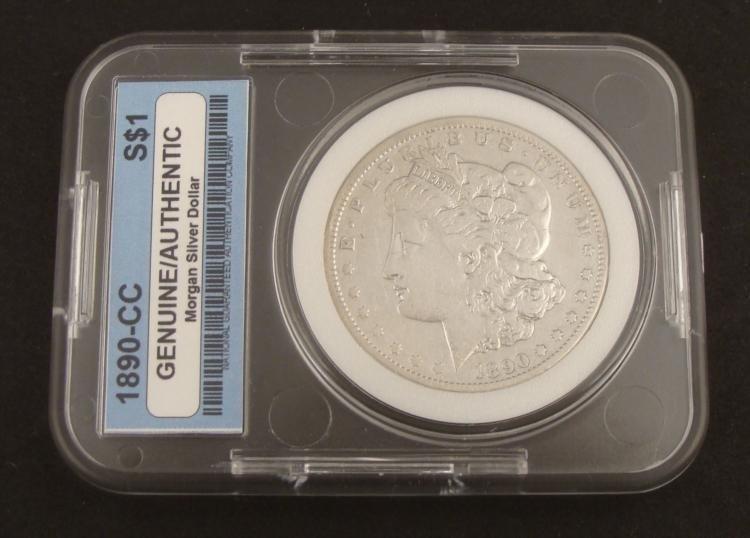 1890-CC Morgan Silver Dollar -Slabbed Authentic