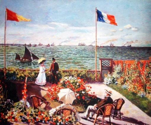 Terrace by the Seaside by Monet Giclee