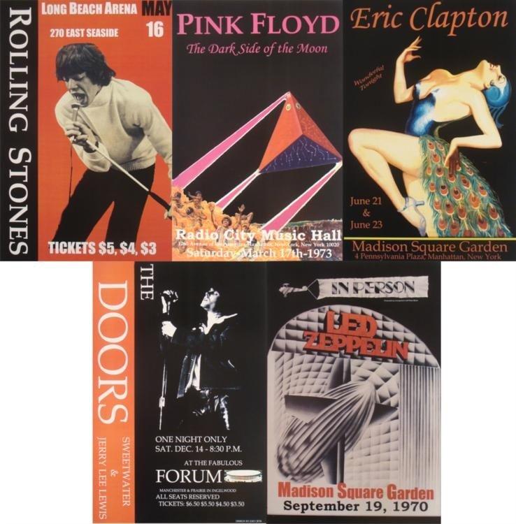 5 Concert Posters Doors Clapton Stones Zeppelin Floyd