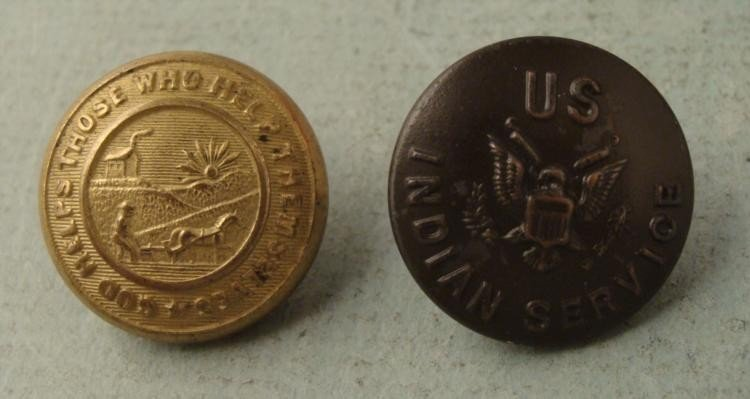 "2 U.S. Indian Service Coat Buttons ""God Helps"" Vintage"