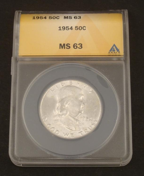 MS 63 1954 Franklin Silver Half Dollar