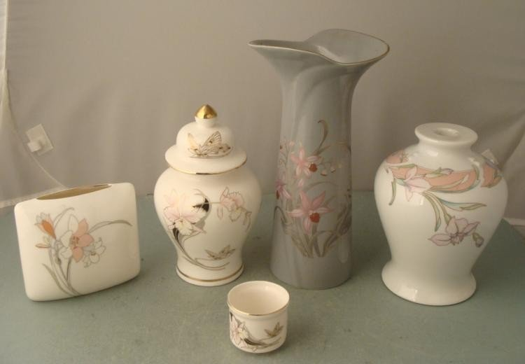 5 pc Modern Japanese China Ceramic Vases Urn Candle Cup