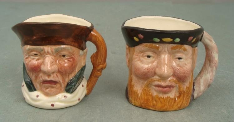 2 Small Tobey Jugs Lancaster Hand-Painted England