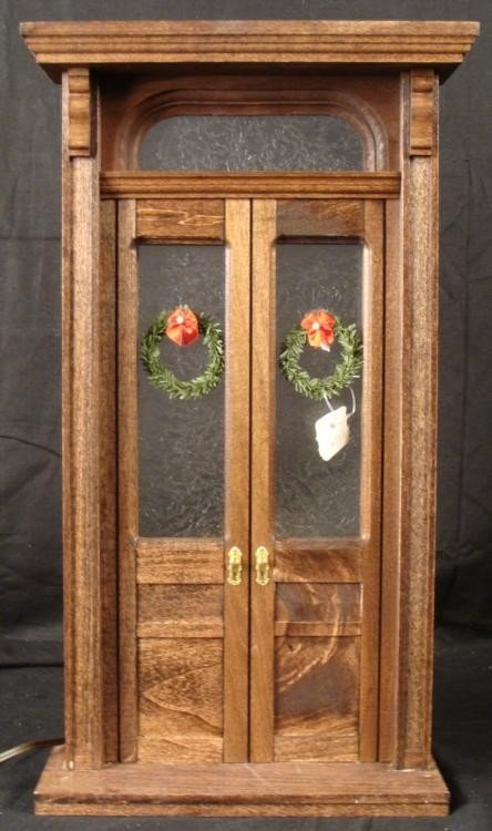 Winter Door Scene Mini Lighted Display -Hand Made Wood