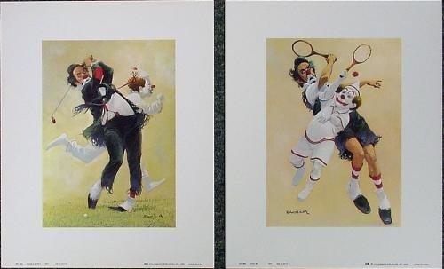Pair of Colorful Robert Owen Tennis + Golf Clown Prints