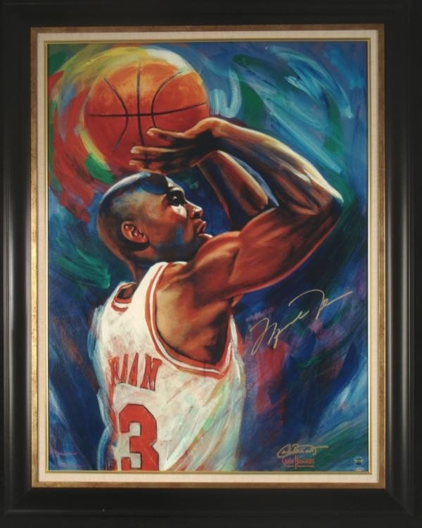 Michael Jordan Signed Art Print Framed -Free Throw