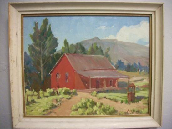 Antique House with Landscape Signed - Carl Schmidt