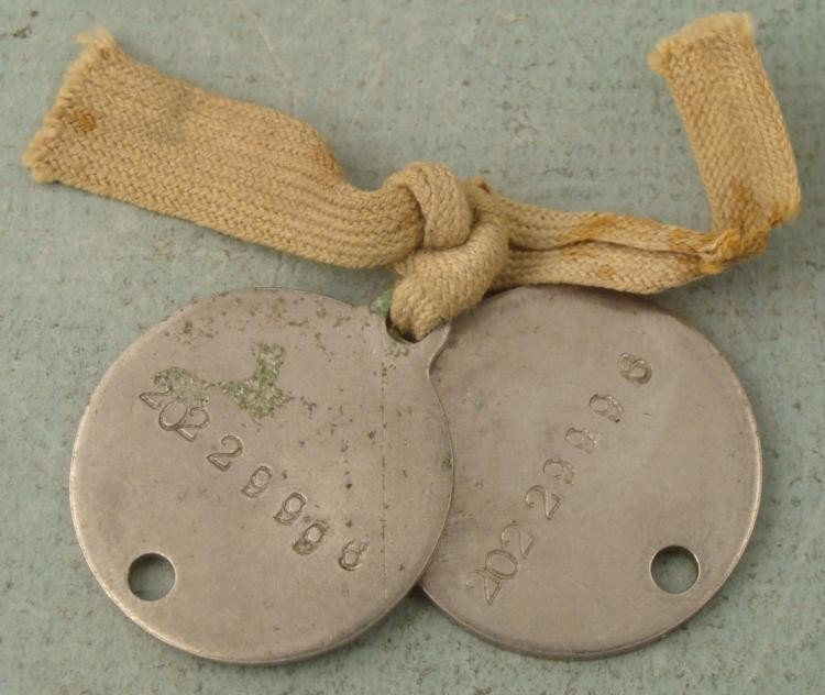 2 WWII Round Soldiers Dog Tags / ID Tags