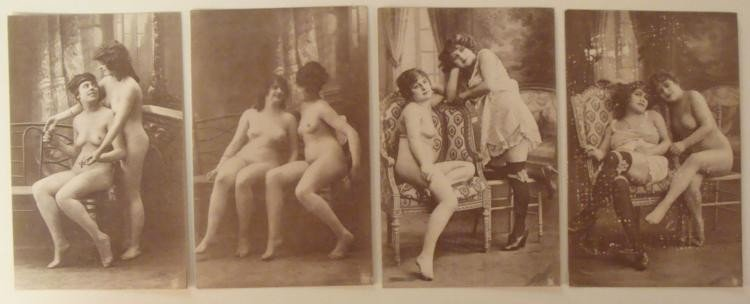 "3 1920'S FRENCH NUDE GIRLIE POSTCARDS-3 1/2"" X 5 1/2"""
