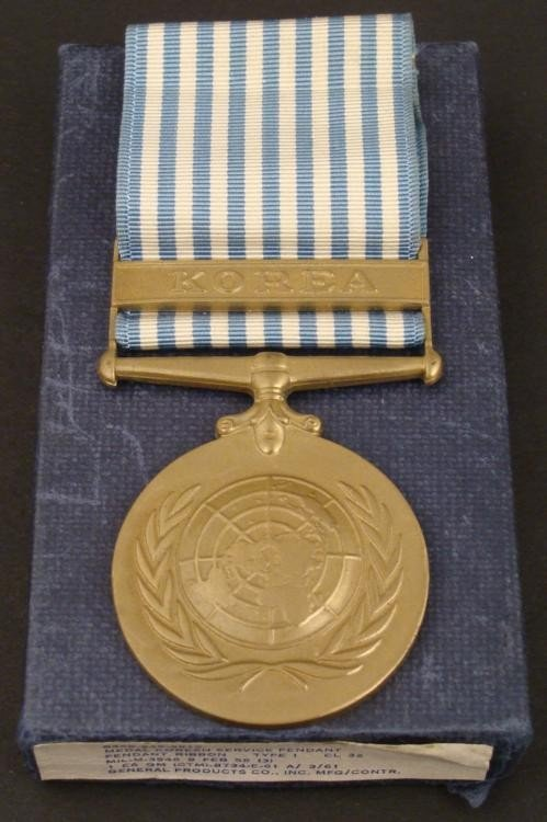 KOREAN WAR MEDAL/UNITED NATIONS-BOXED WITH KOREA BAR