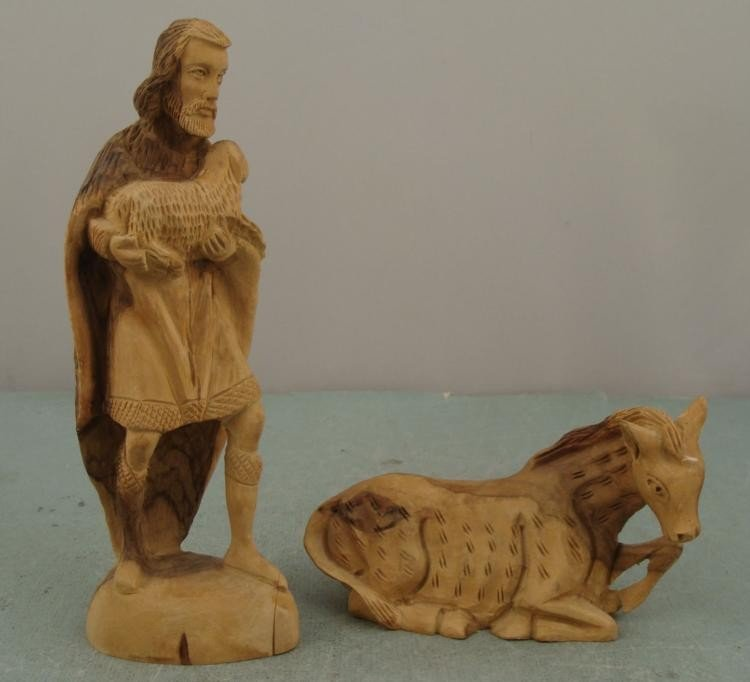 Hand Carved Vintage Wood Figurines Man w/ Sheep & Horse