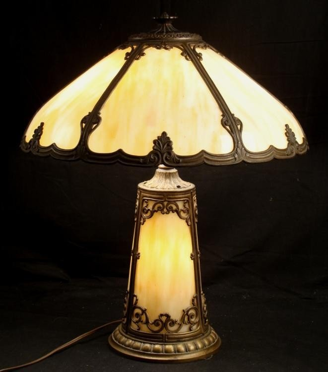 Antique Tan Table Lamp w/ Glass Shade & Lighted Base