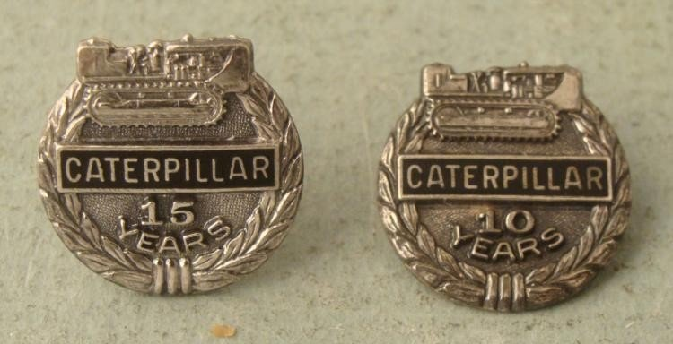 2 Sterling Silver Caterpillar Service Pins 10 & 15 Yrs
