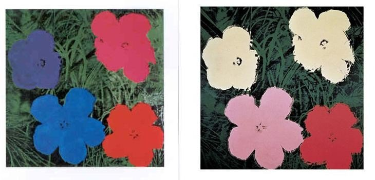 2 Different Andy Warhol Art Prints: Flowers II & III