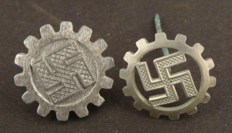 TWO ORIGINAL NAZI DAF WORKERS ORGANIZATION BADGES