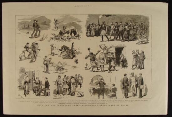 Antique English Midshipmen Print The Graphic 1880