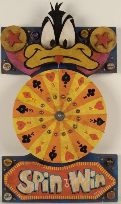 Zeno Daffy Duck Original Roulette Spin Wheel Painting