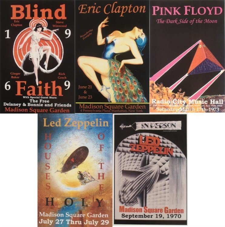 5 Concert Posters Eric Clapton Led Zeppelin Pink Floyd