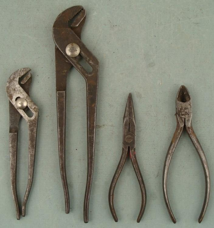 4 Vintage Antique Tools Pliers Claw Clamps Channel Lock