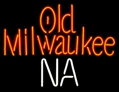 Old Milwaukee NA 2 Color Neon Beer Bar Sign 1996