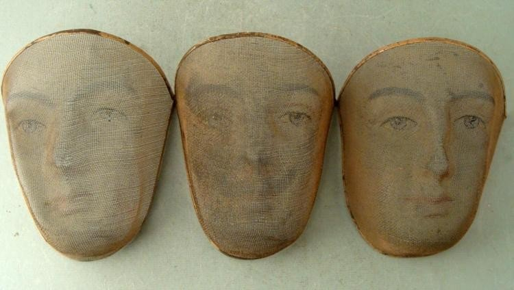 3 Vintage Mesh Painted Greek Theater Masks Costumes