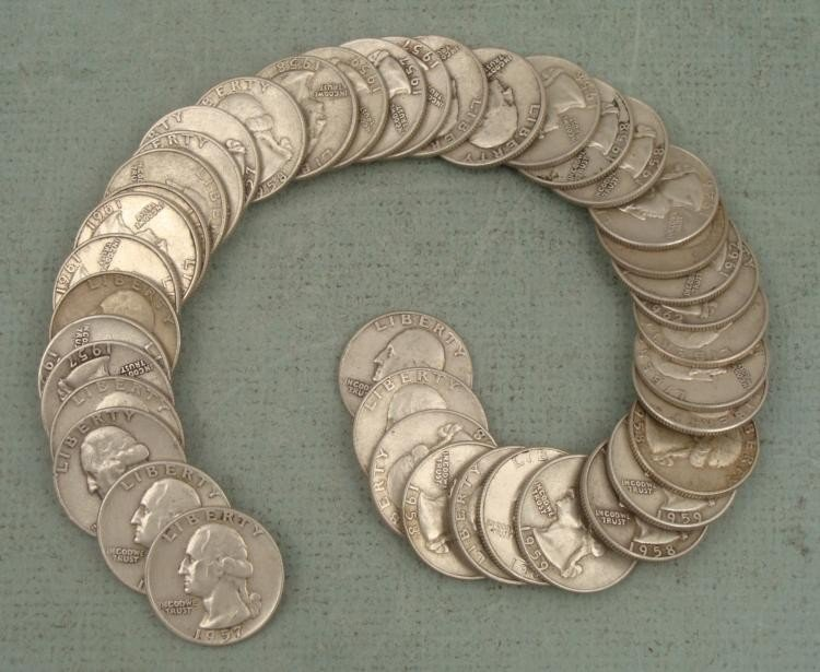 1 Roll 40 Mixed Date Silver Washington Quarters