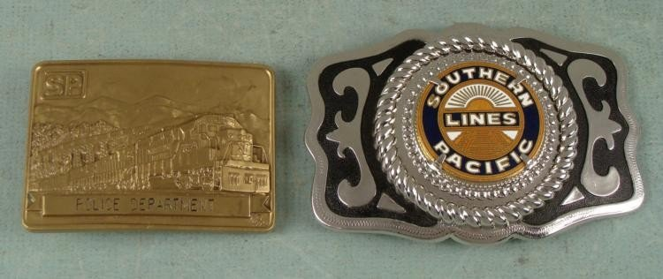 2 Southern Pacific Railroad Belt Buckle 1 Brass Police