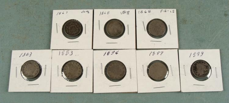 3 Shield Nickels & 5 V Nickels Mixed Dates