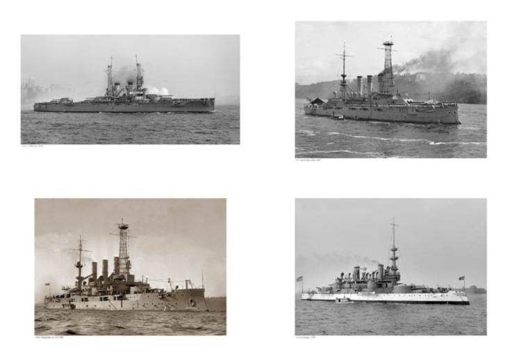 4 US Navy Military Battleships War Ships Art Prints