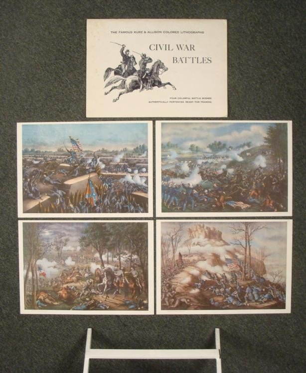 4 Kurz & Allison Civil War Battles Prints in Folder