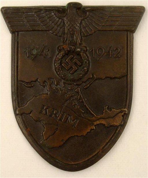 ORIG NAZI KRIM SHIELD 1941 EAGLE SWASTIKA MAP OF CRIMEA