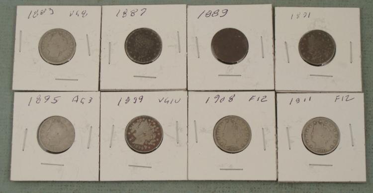 8 Diff Date V Nickels Better than Avg 1883-1911