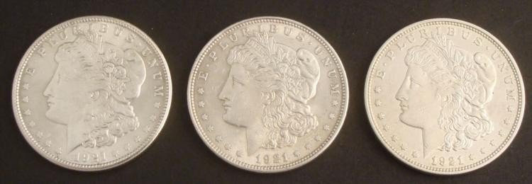 3 High Grade Morgan Silver Dollars 1921-P, D, S