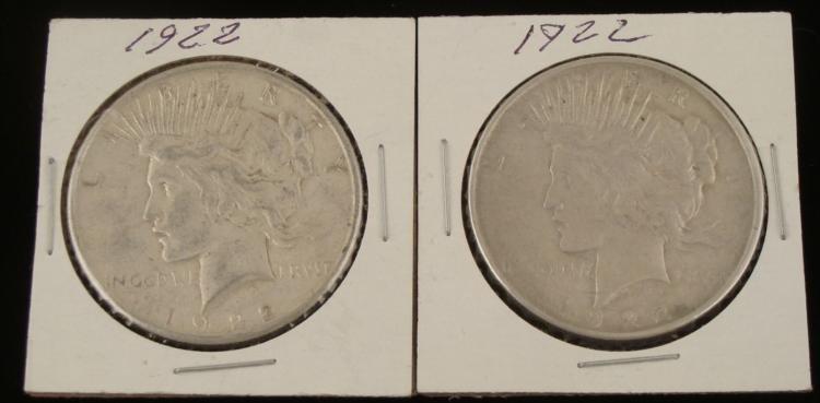 1922-D, 1922-S Peace Dollars Nice Coins