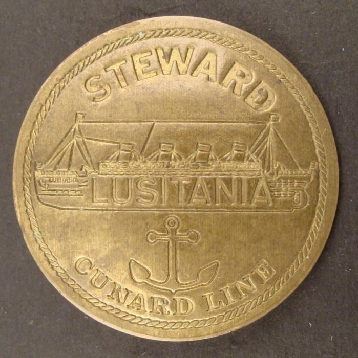 LUSITANIA-CUNARD LINE-STEWARD BADGE-SHIP & ANCHOR