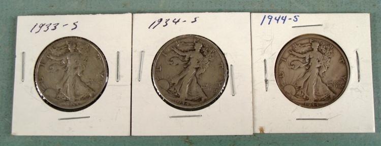 3 Silver Walking Liberty Half Dollars 1933-S, 34-S 44-S