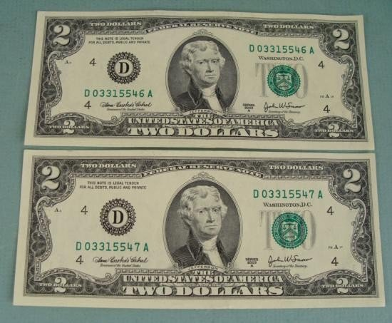 2 Consec # 2003 A $2 Bills D Mint Cleveland Notes CU