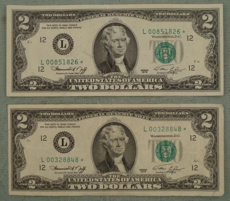 2 Star Notes 1976 $2 Bill L Mint San Francisco