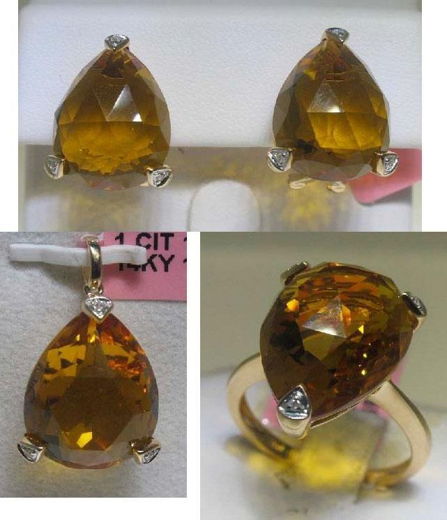 Three Piece Citrine and Diamonds 14K Yellow Gold set