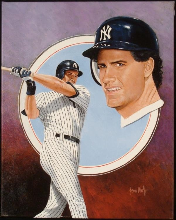 Leon Wolf Original Signed Painting Paul O'Neill Yankees