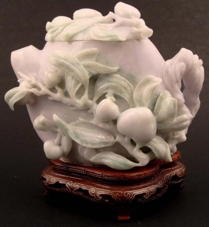 Lavender Jade Antique Carving-Peaches Teapot,1890 w/COA