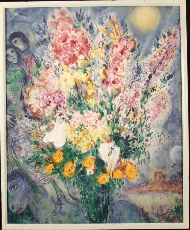 Marc Chagall Art Print Framed Lovers Bouquet