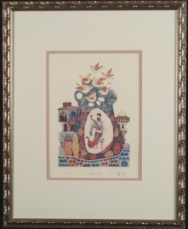Elgi D Signed Judaic Art Print Davids Harp Framed