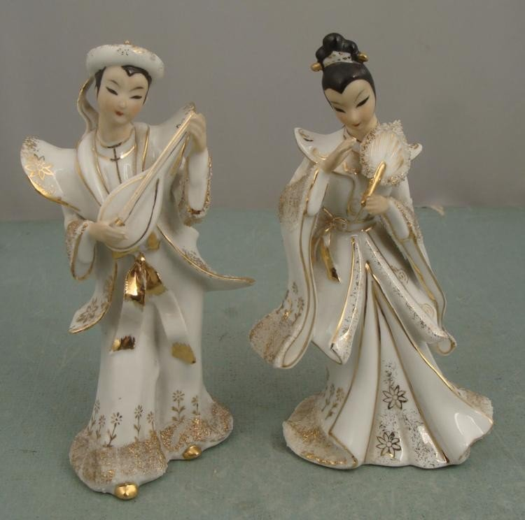 2 Figurines Asian Women Lefton China Fan White Dress