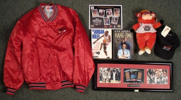 Chicago Bulls Lot Framed Picture Pin Jacket Hat Books